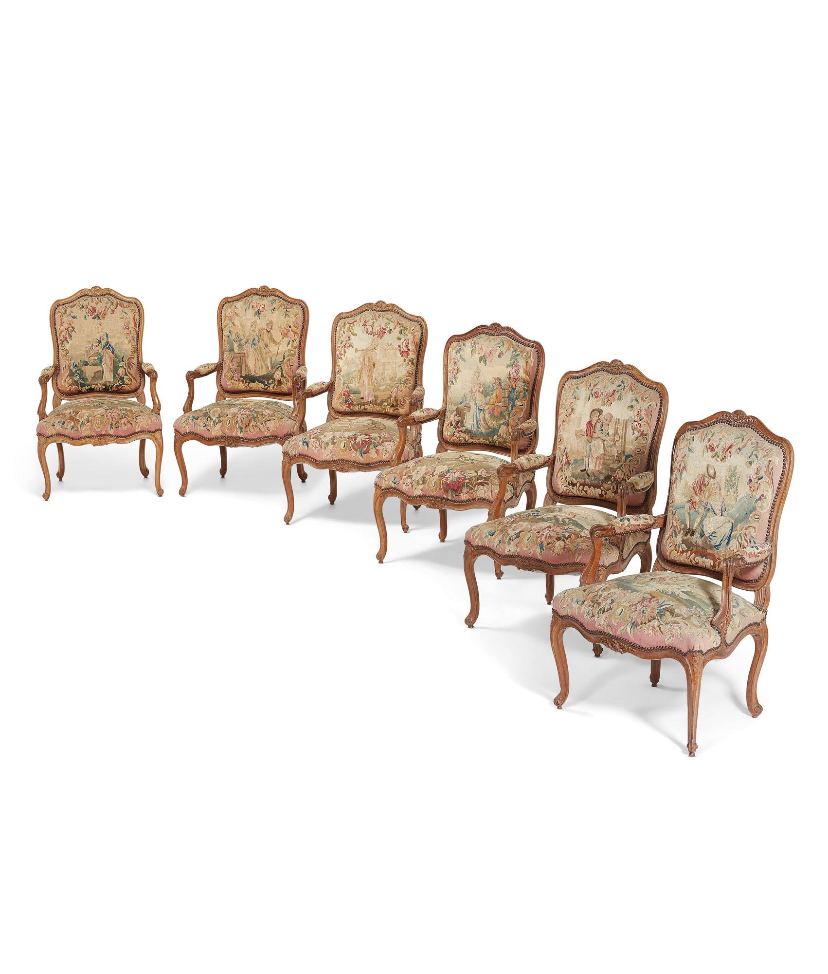 suite de six fauteuils a la reine de style louis xv