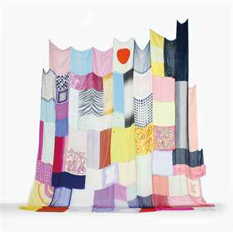 Jim Hodges, Here's Where We Will Stay  printed nylon, painted chiffon and silk head scarves with thread, embroidery and sequins 230 x 225 in. (584.2 x 571.5 cm.) 1995. Source: Christies.com.