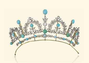 A LATE VICTORIAN TURQUOISE AND DIAMOND TIARA  NECKLACE
