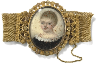 An early 19th century portrait miniature and gold bracelet