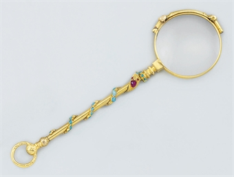 A pair of late 19th century gold and gem lorgnettes