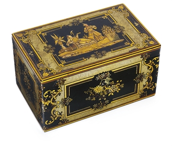 A lacquer papier-mâché tea-caddy