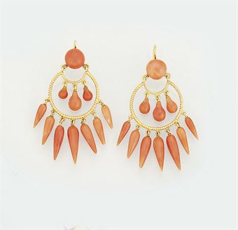 A pair of late 19th century gold and coral earpendants