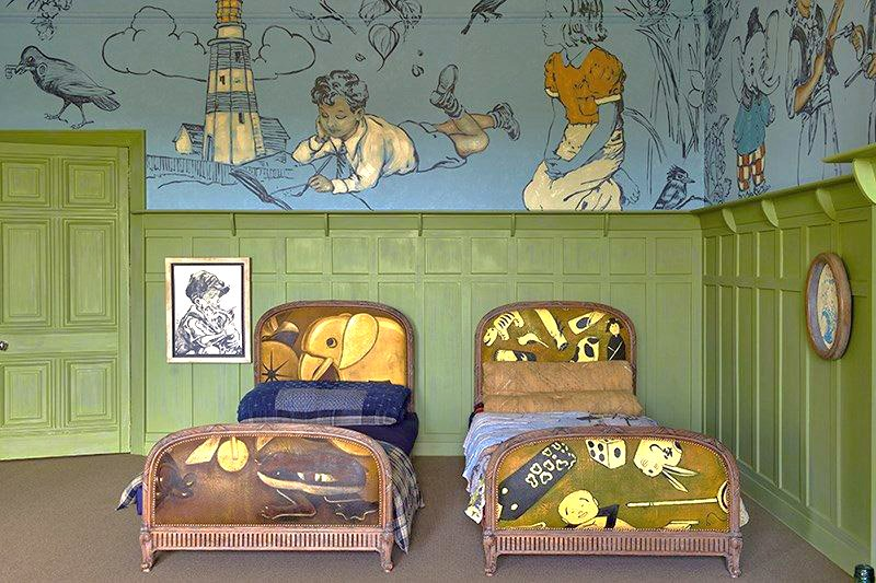 A children's bedroom designed by David Bromley is populated by nostalgic imagery and objects drawn from historical children's literature.