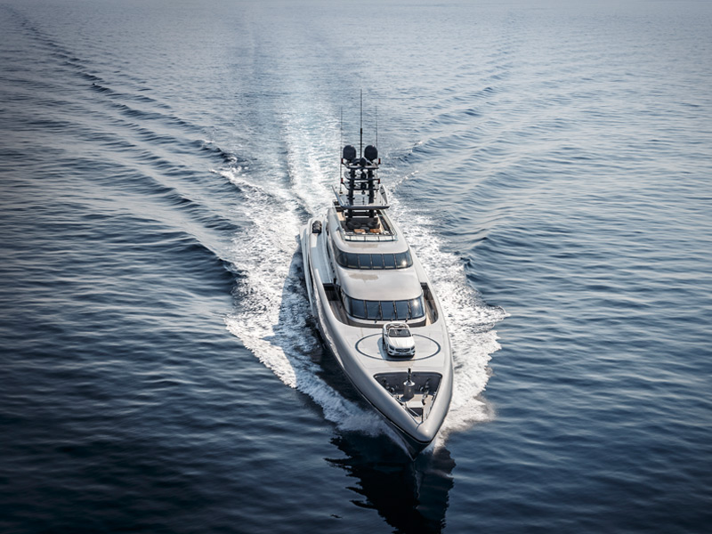 The 77m Silver Fast from SilverYachts is the fastest aluminium motor yacht on the market, and includes an outdoor cinema, glass-fronted jacuzzi and its very own helipad. Photograph: Silver Fast Press Mercedes