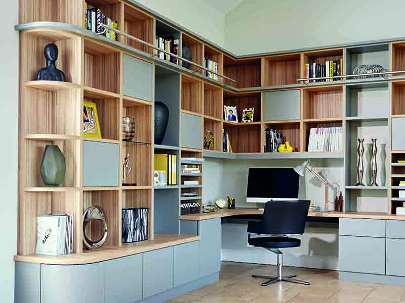 Home offices designed by furniture-maker Neville Johnson balance beautiful design with functionality. The company offers a wide selection of finishes for its bespoke office furniture, including hand-selected wood veneers, gloss, glass, and over 1,000 paint colours.