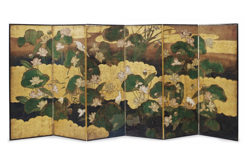 A Japanese gilt and polychrome-painted six-panel screen. Decorated to one side with exotic birds, the reverse with silvered and gilt pattern of birds and butterflies.