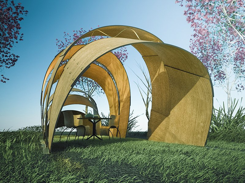 Armadillo Tea Pavilion Ron Arad Comprising five molded shells, the canopy is designed to provide an intimate enclosure, shelter, or place of reflection within a garden or large internal space.