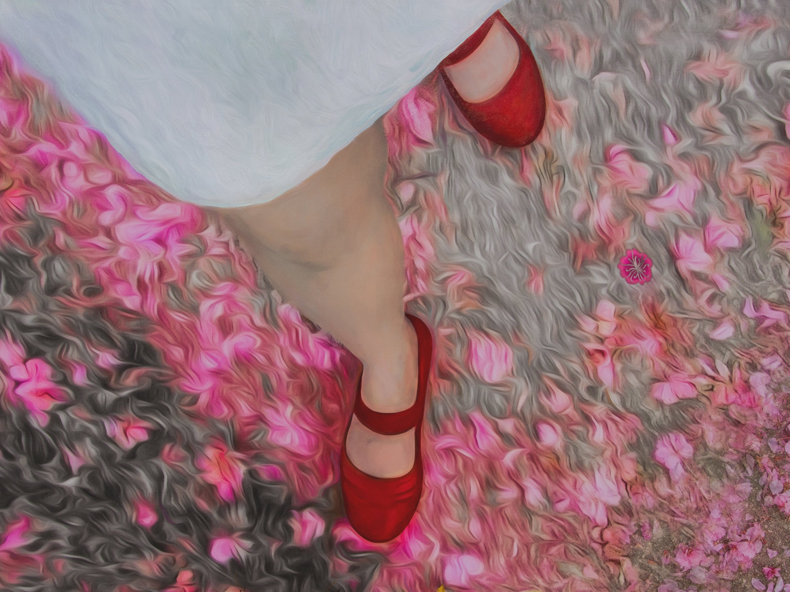 Liliane Blom, Red Shoes, 2016, digital painting on canvas.