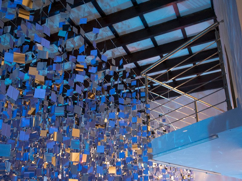 Marea Alta by Mabel Poblet, 2015, installation, mirrors and nylon threads. Exhibitor: Cynthia Reeves, Walpole, NH