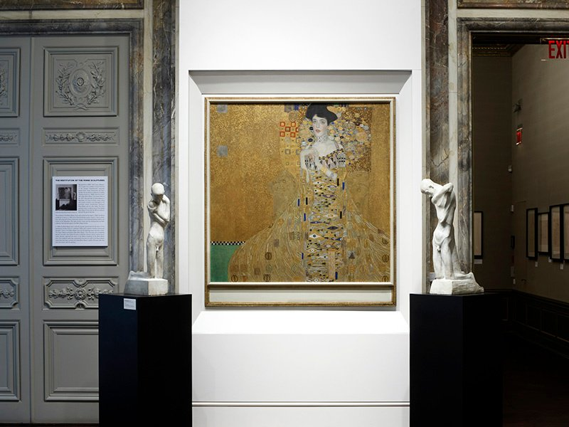 Portrait of Adele Bloch-Bauer I by Gustav Klimt, and sculptures by George Minne, at the Neue Galerie, which is housed in the William Starr Miller House, at 86th Street and Fifth Avenue. Photograph: Hulya Kolabas for Neue Galerie New York