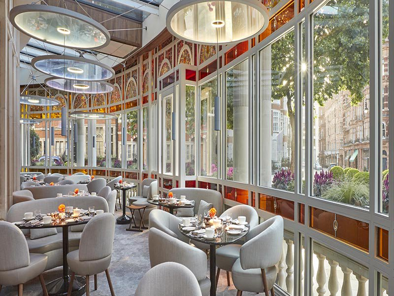 An Asian-inspired menu from chef Jean-Georges Vongerichten features at the revamped dining room at the Connaught in Mayfair, London.