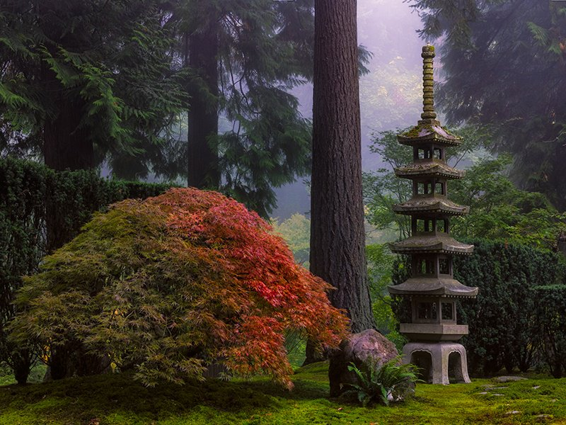 Portland Japanese Garden in Oregon demonstrates the importance of architecture in Eastern-influenced horticulture.