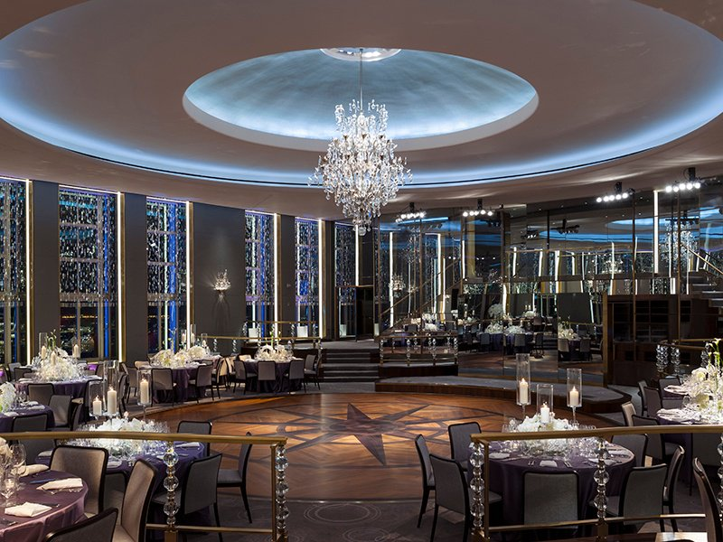 The Rainbow Room on the 65th floor of Rockefeller Center in New York City offers some of the most exhilarating views of Manhattan.