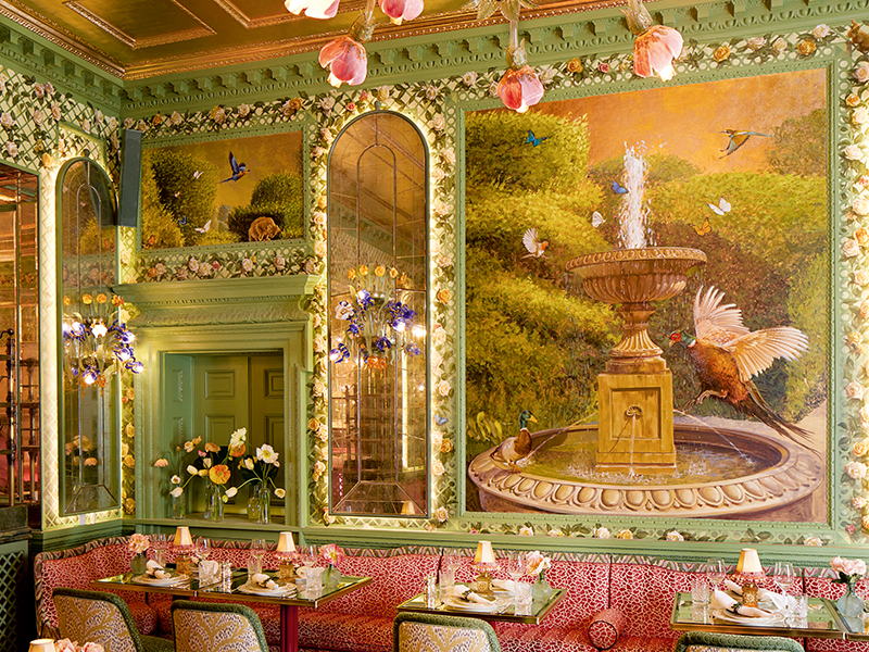 Large floral murals in dining room