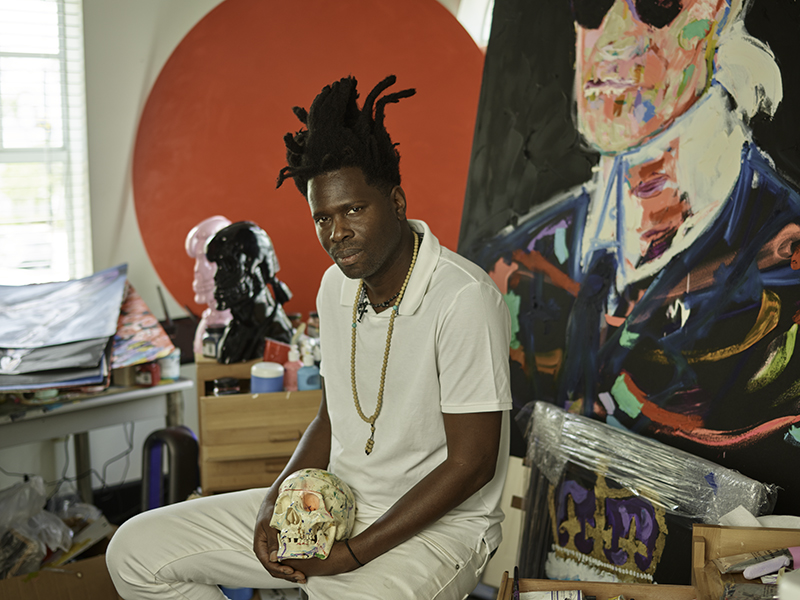 Artist Bradley Theodore in his Miami studio