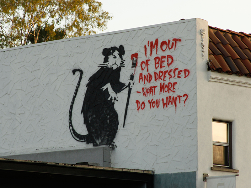 Banksy rat stencil in Melrose Avenue in Los Angeles, California