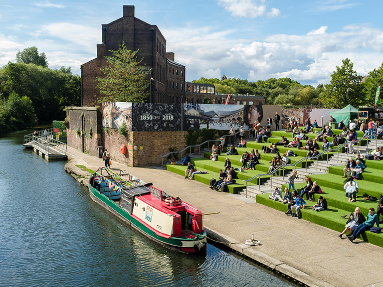Kings-Cross-Granary-Square-canal-boat-summer