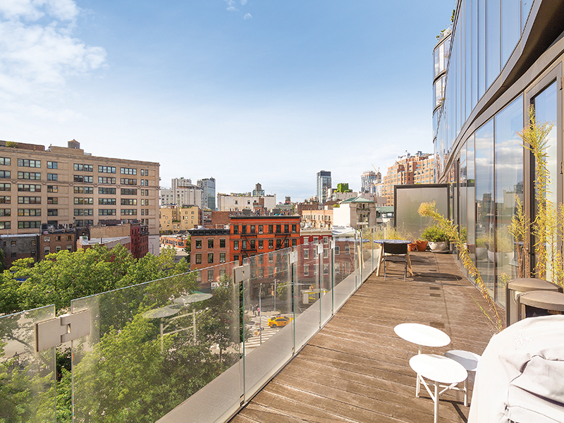 The terrace of 122 Greenwich Avenue, an apartment in the West Village