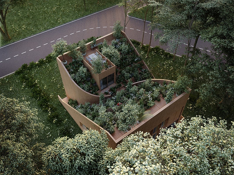 A concept for a home with an interlocking green roof