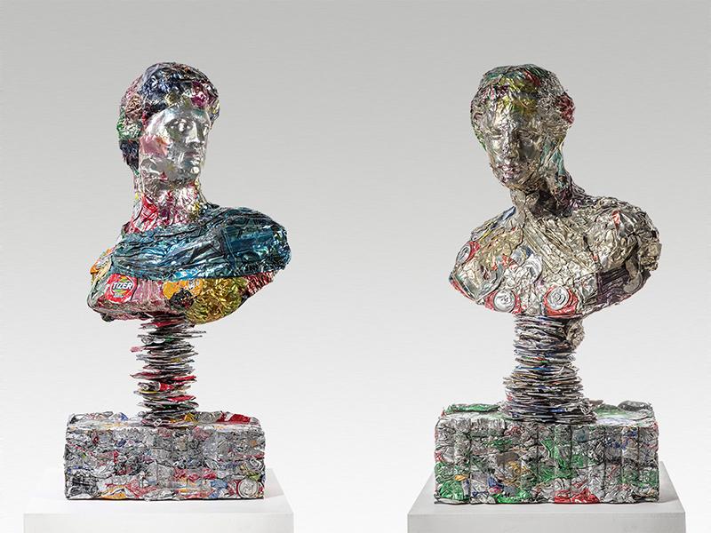 Two bust sculptures from Ann Carrington's Piss Heads series