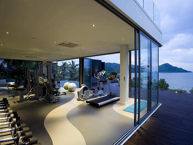 fitness center in modern luxury house