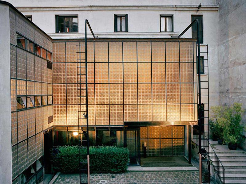 The courtyard of Maison de Verre in Paris, France