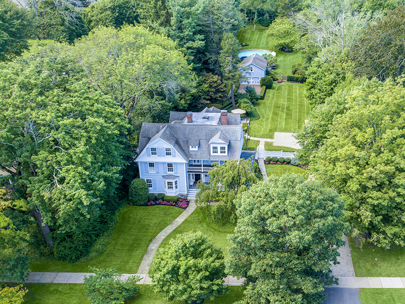 The aerial view of a home in suburban Connecticut