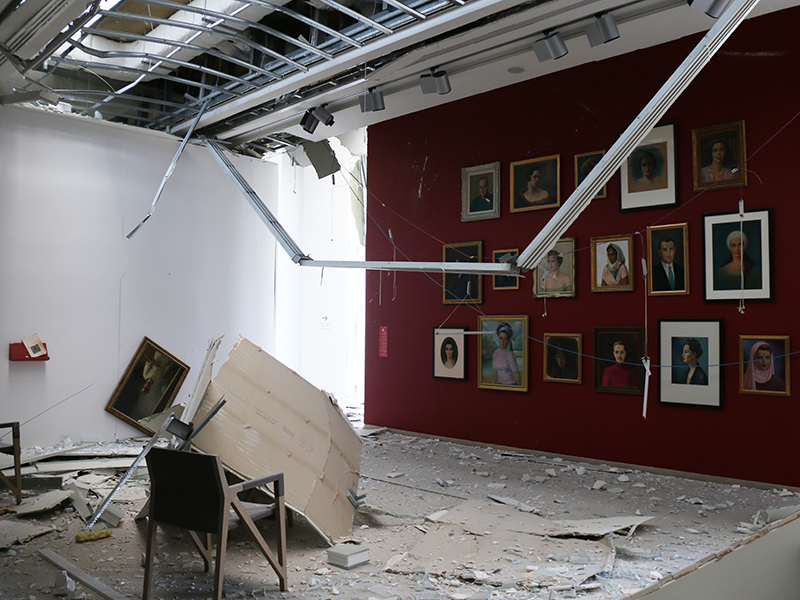A damaged display at the museum