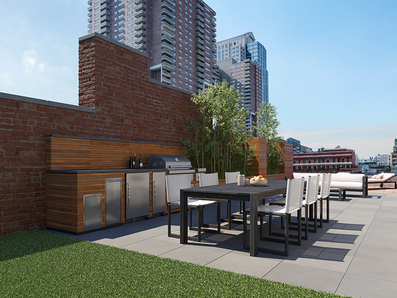A penthouse terrace with view of sckyscrapers