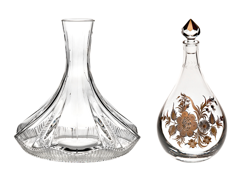 Two crystal decanters