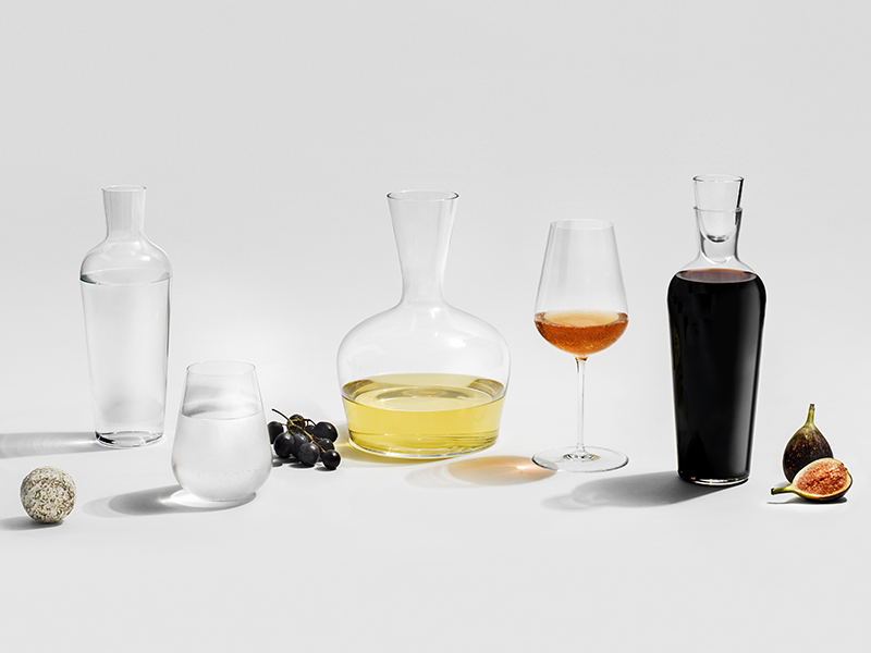 Glassware on a white table