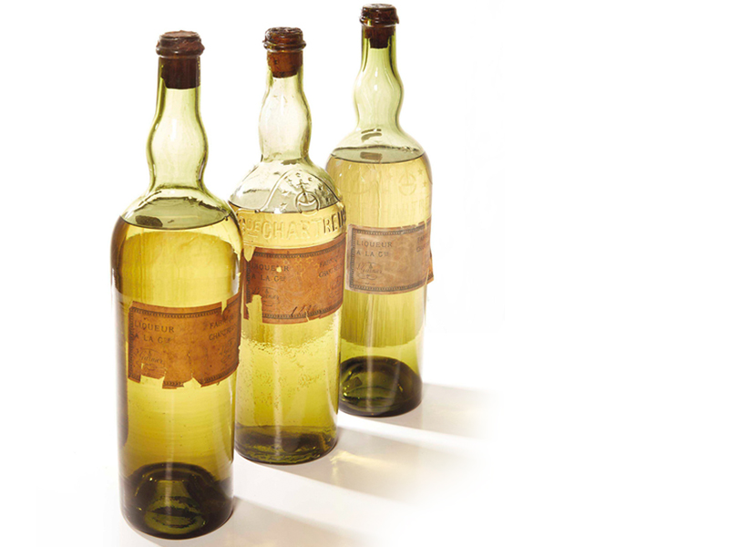 Three bottles of Chartreuse Jaune