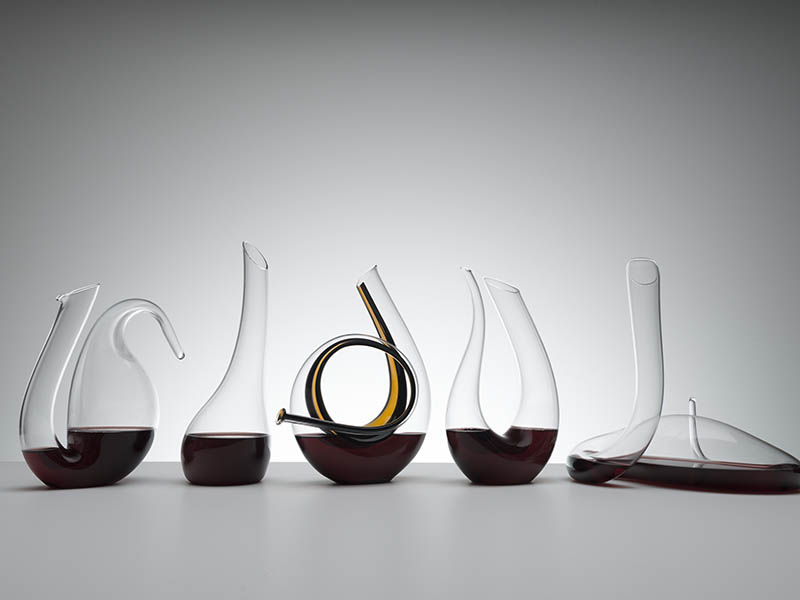 Five modern, curly wine decanters