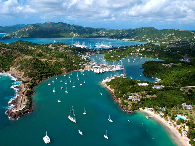 An aerial view of Antigua island