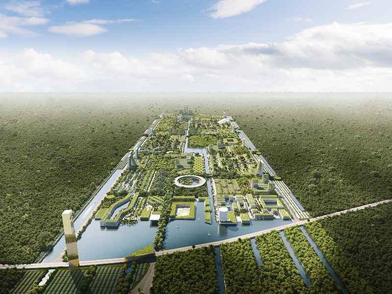 An aerial view of a large city filled with vegetation