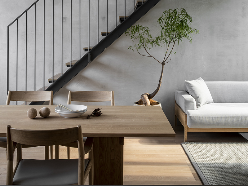 A japandi inspired living and dining room with natural elements