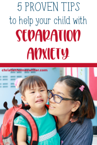 What is separation anxiety in kids, why it's not bad, and tips to for coping with it. | The first day of preschool, kindergarten, or grade school can bring big feelings. | Tips for parents to help your child with separation anxiety disorder. #separationanxiety #anxiety #mentalhealth #parentinghacks #christianparenting