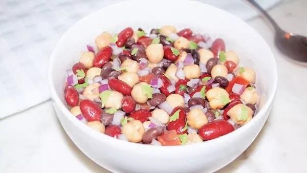 Cowboy Caviar bean salad in a white bowl