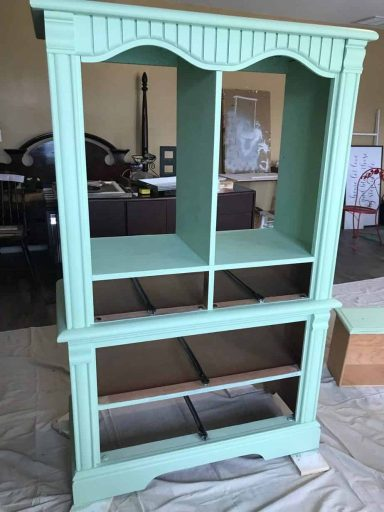 Upcycled Armoire Cabinet Two Coats of Paint