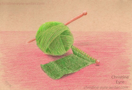 42-Knitting , Knitting, 1, 2, 3--colored pencil study