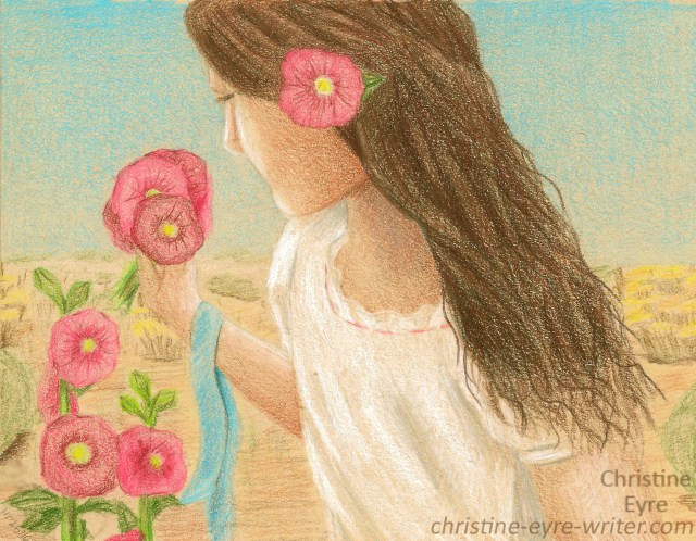 66-josefina-with-hollyhocks