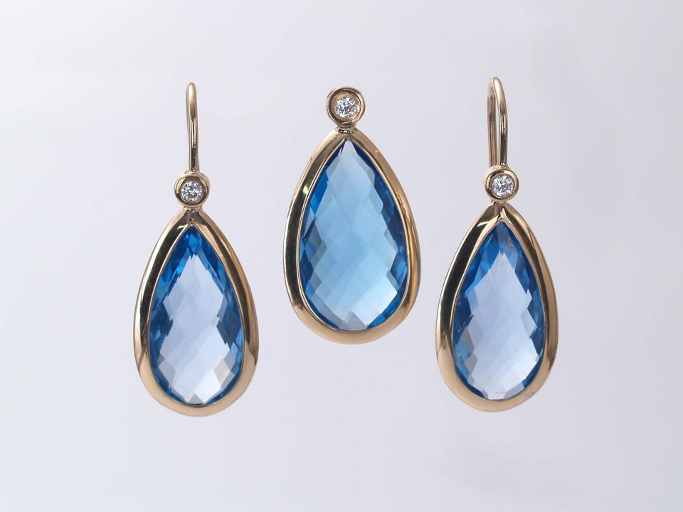 Blue Topaz and 18KY gold with diamond accents Earrings and Pendant set