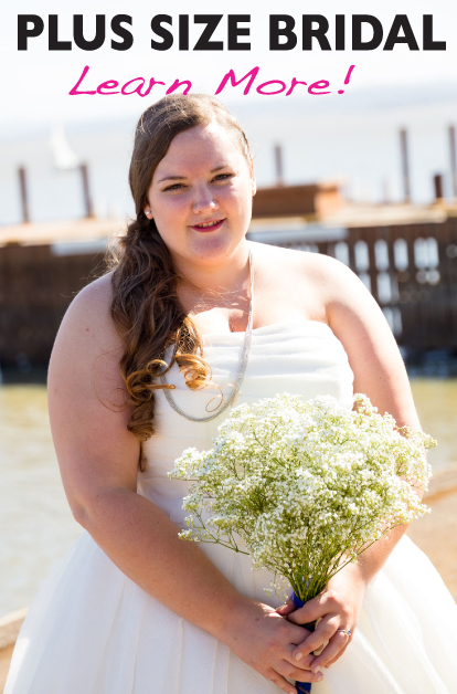 Plus size wedding dresses and plus size bridal gowns. Serving all of Vermont and New Hampshire. Sizes 0-42W.