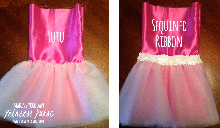 Attach tutu and sequined ribbon