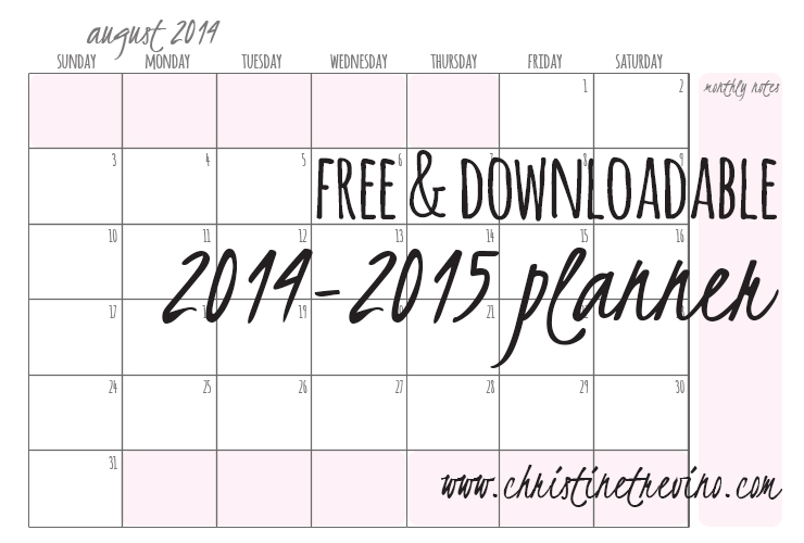 Free & Downloadable 2014-2015 Planner
