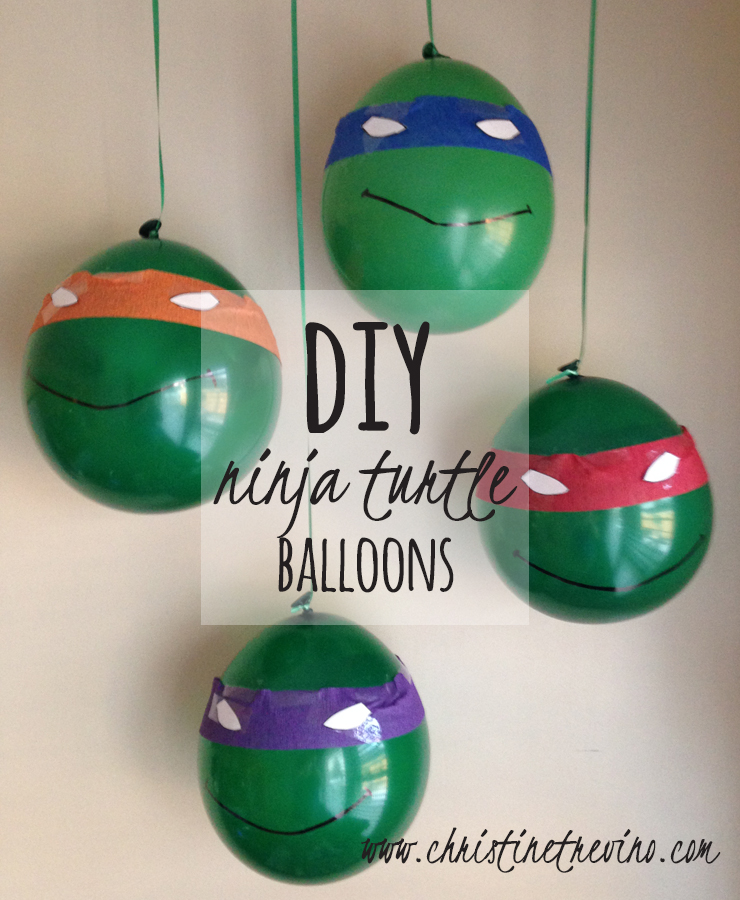 DIY Ninja Turtle Balloons (with FREE eye printables)