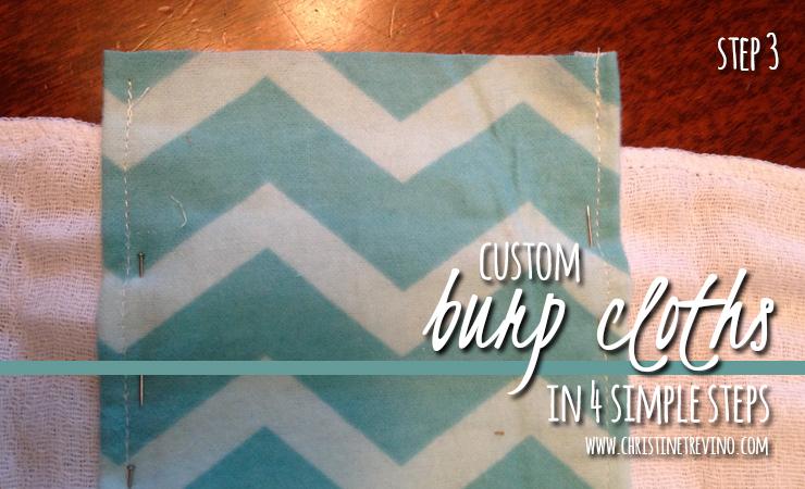 Step 3 of 4 for custom burp cloths
