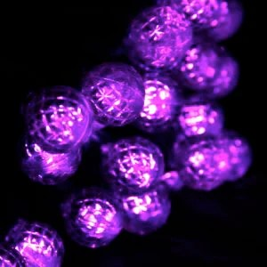 50 Round G12 Purple LED Christmas Lights