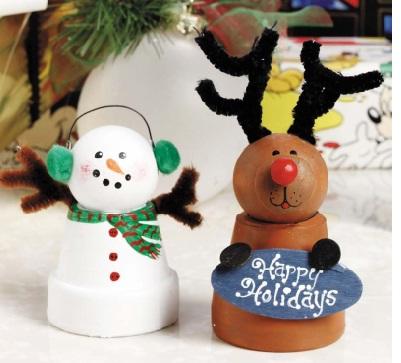 Clay pot reindeer Christmas ornament